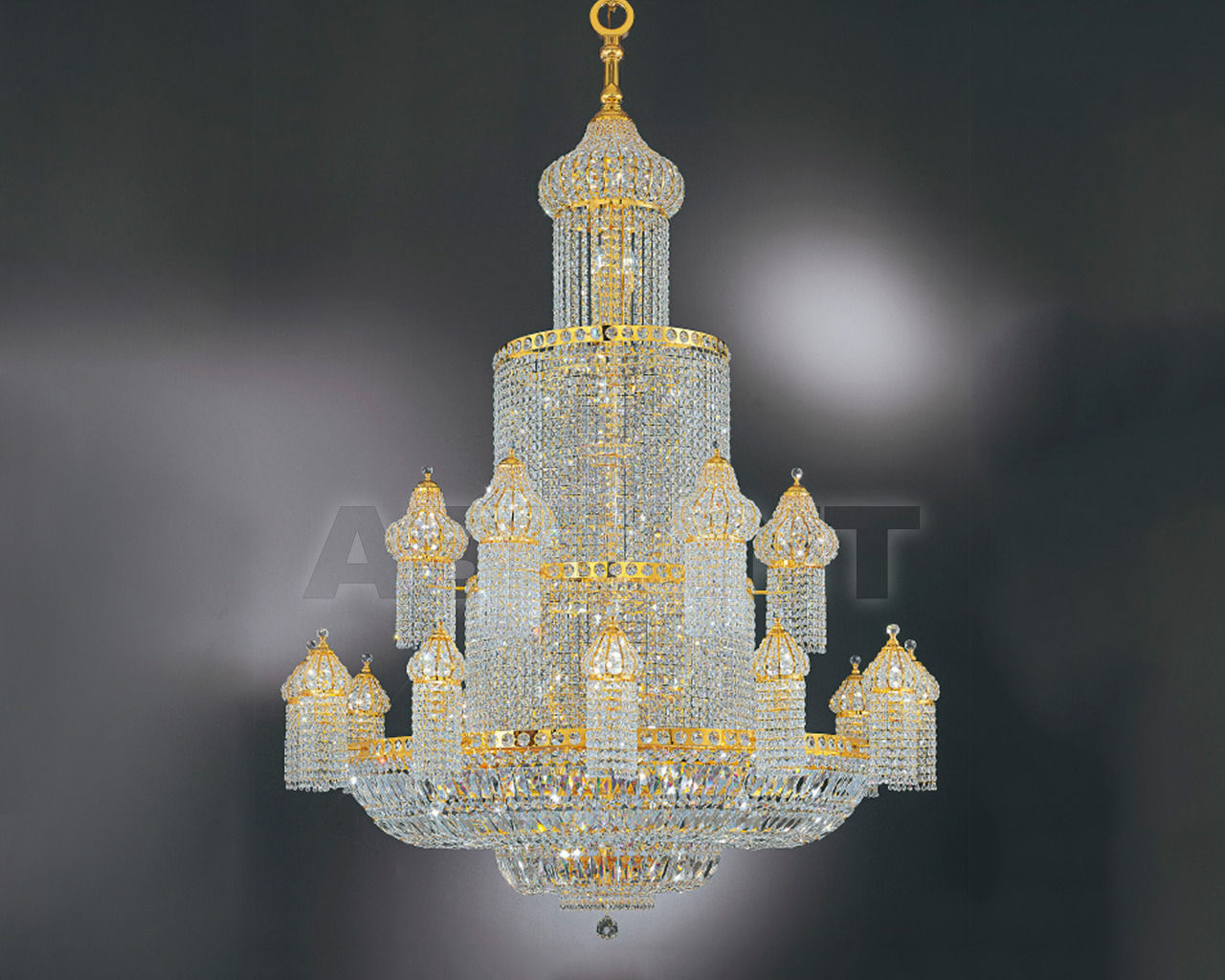 Купить Люстра Asfour Crystal Crystal 2013 CH 18+1Arabic style. Drop*Square stons.Gold