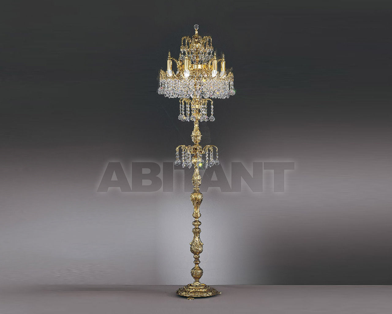 Купить Торшер Asfour Crystal Crystal 2013 FL 3512/6/3 Gold Patina .Octagons*Ball