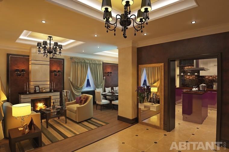 Интерьер гостиной в коттедже фото